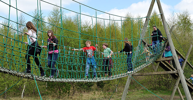 Cross the rope bridge