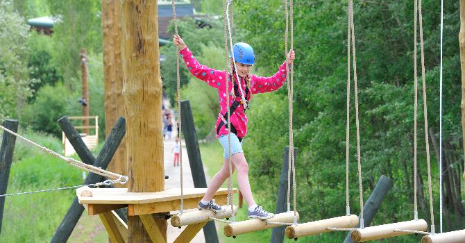 The high ropes, climbing wall, zip wire and more...